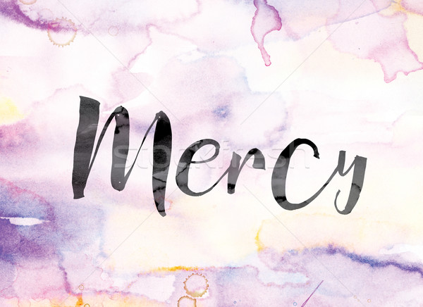 Mercy Colorful Watercolor and Ink Word Art Stock photo © enterlinedesign