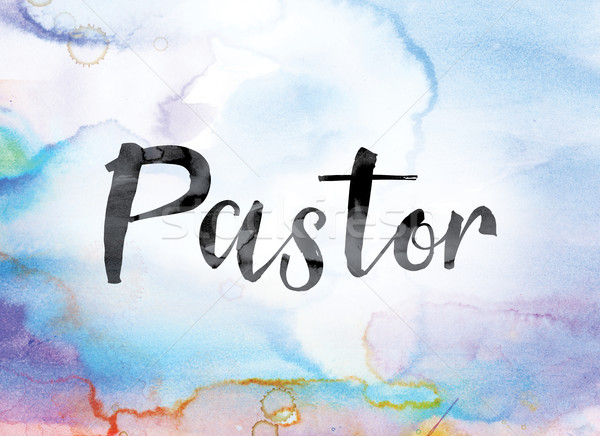 Pastor Colorful Watercolor and Ink Word Art Stock photo © enterlinedesign