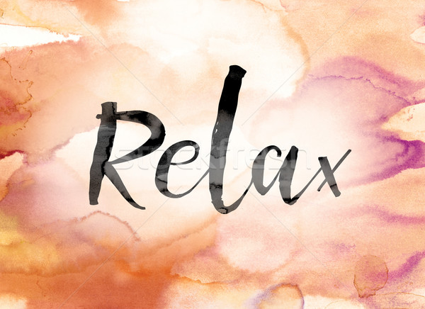 Relax Colorful Watercolor and Ink Word Art Stock photo © enterlinedesign