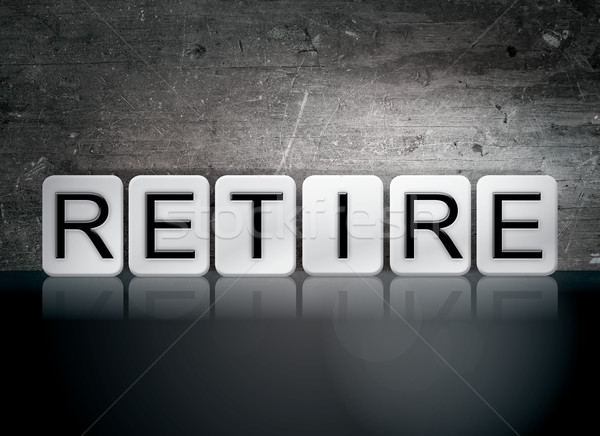 Nyugdíjba megy csempézett levelek szó írott fehér Stock fotó © enterlinedesign