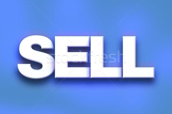 Vender colorido palavra arte escrito branco Foto stock © enterlinedesign
