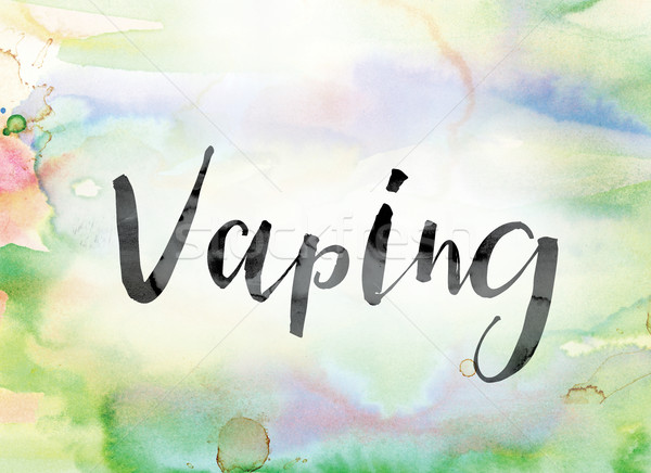 Vaping Colorful Watercolor and Ink Word Art Stock photo © enterlinedesign