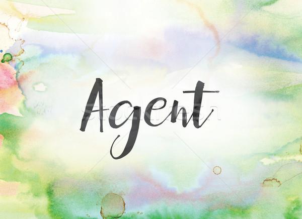 агент акварель чернила Живопись слово написанный Сток-фото © enterlinedesign
