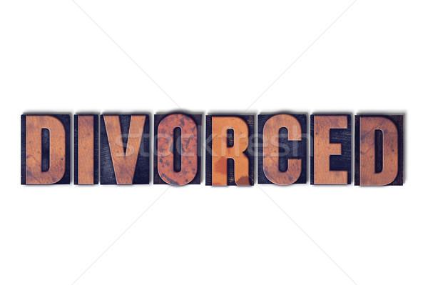 Divorcé isolé mot écrit vintage Photo stock © enterlinedesign