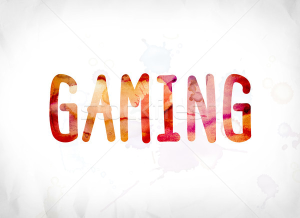 Gaming Concept Painted Watercolor Word Art Stock photo © enterlinedesign