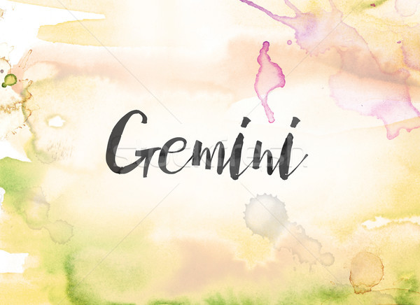 Gemini Concept Watercolor and Ink Painting Stock photo © enterlinedesign