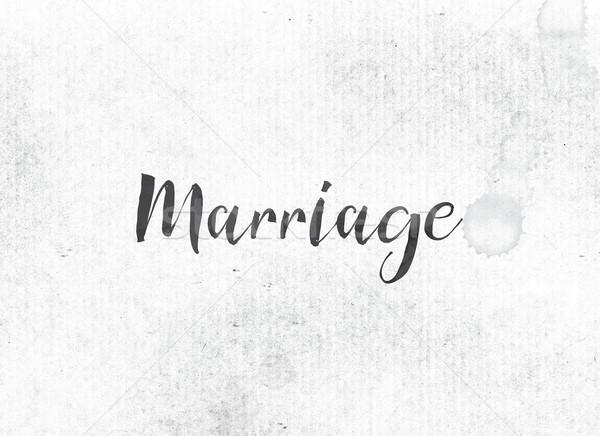 Házasság festett tinta szó fekete vízfesték Stock fotó © enterlinedesign