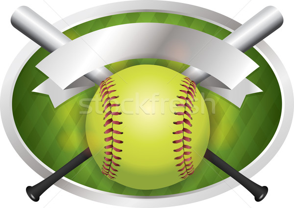 Softball bat emblema banner illustrazione vettore Foto d'archivio © enterlinedesign