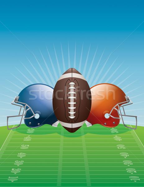 Amerykański piłka nożna ilustracja kaski dziedzinie wektora Zdjęcia stock © enterlinedesign