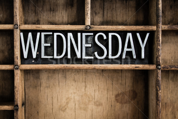 Wednesday Concept Metal Letterpress Word in Drawer Stock photo © enterlinedesign