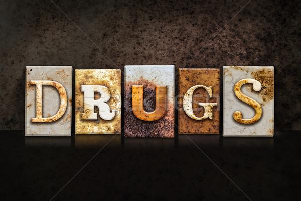 Drugs Letterpress Concept on Dark Background Stock photo © enterlinedesign