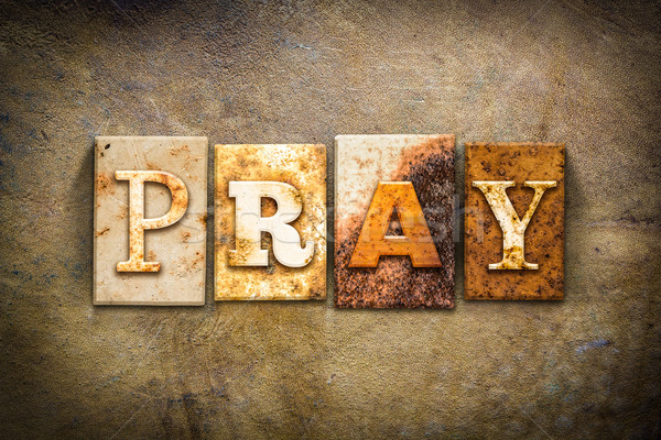 Pray Concept Letterpress Leather Theme Stock photo © enterlinedesign