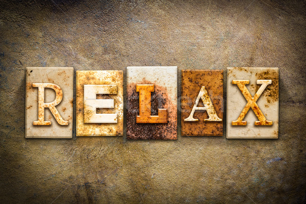 Relax Concept Letterpress Leather Theme Stock photo © enterlinedesign