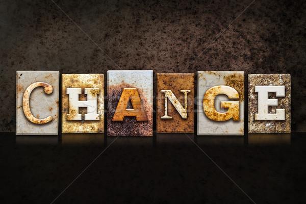 Change Letterpress Concept on Dark Background Stock photo © enterlinedesign