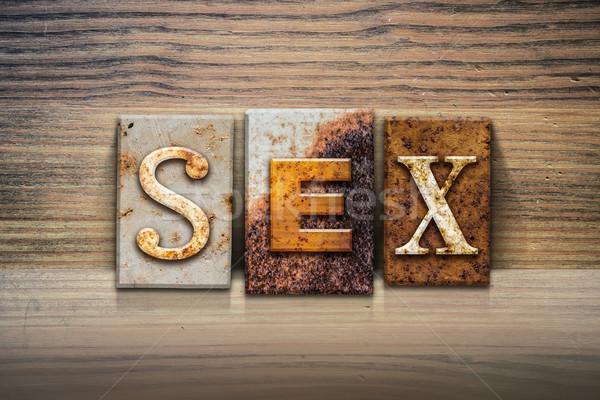 секс слово написанный ржавые металл Сток-фото © enterlinedesign