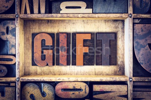 Gift Concept Letterpress Type Stock photo © enterlinedesign