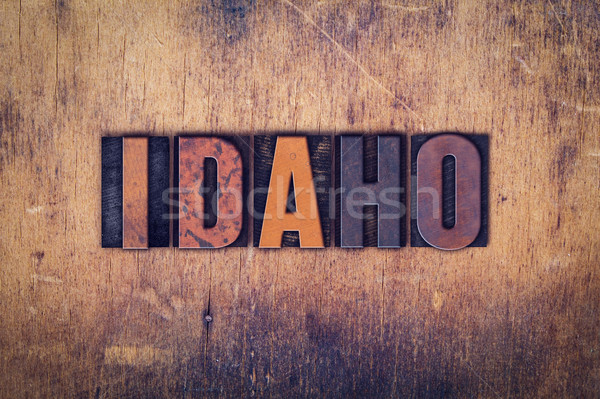 Idaho houten type woord geschreven Stockfoto © enterlinedesign