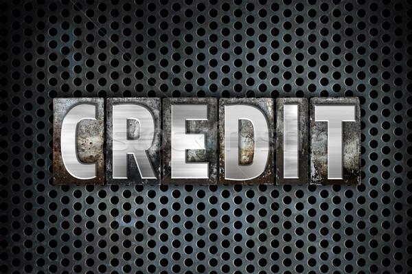Crédito metal tipo palabra escrito Foto stock © enterlinedesign