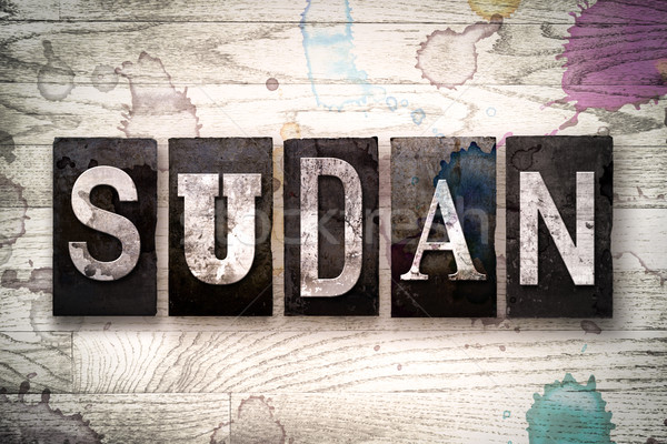 Sudan Concept Metal Letterpress Type Stock photo © enterlinedesign