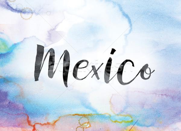 México colorido acuarela tinta palabra arte Foto stock © enterlinedesign