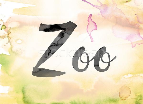 Zoo kolorowy akwarela atramentu słowo sztuki Zdjęcia stock © enterlinedesign