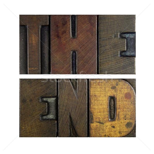 Einde woorden geschreven vintage type Stockfoto © enterlinedesign