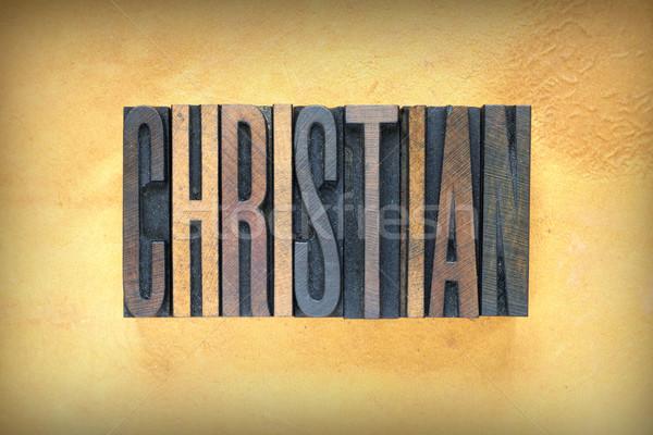 Christian mot écrit vintage type Photo stock © enterlinedesign