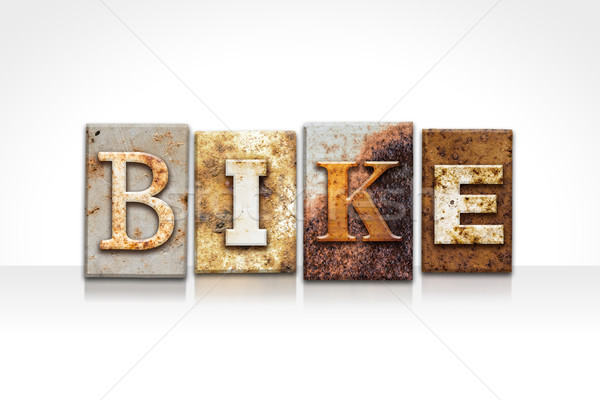 Bike Letterpress Concept Isolated on White Stock photo © enterlinedesign
