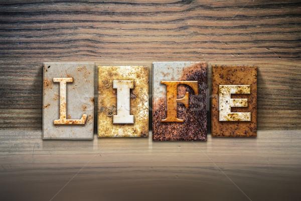 Vie mot écrit rouillée métal Photo stock © enterlinedesign