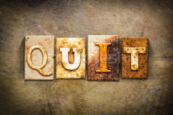 Quit Concept Letterpress Leather Theme Stock photo © enterlinedesign