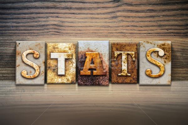 Statistiche parola scritto arrugginito metal Foto d'archivio © enterlinedesign