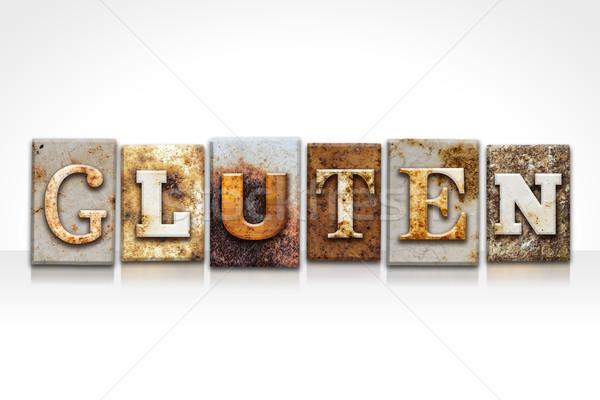 Glutén magasnyomás izolált fehér szó írott Stock fotó © enterlinedesign