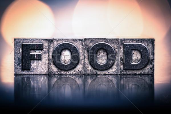 étel klasszikus magasnyomás szó írott Stock fotó © enterlinedesign