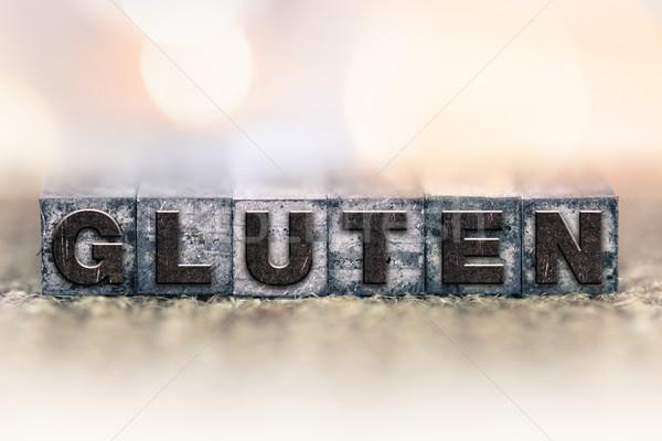 Gluten vintage type woord geschreven Stockfoto © enterlinedesign