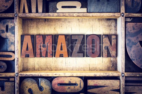 Amazon Buchdruck Typ Wort geschrieben Jahrgang Stock foto © enterlinedesign