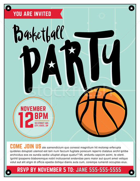 Basketball Party Invitation Template Illlustration Stock photo © enterlinedesign