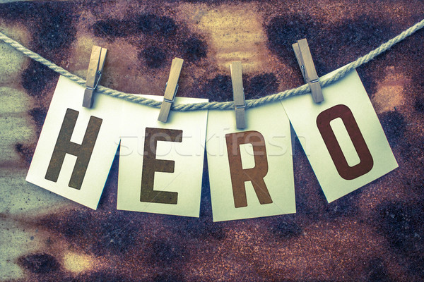 Hero Concept Pinned Cards and Rust Stock photo © enterlinedesign
