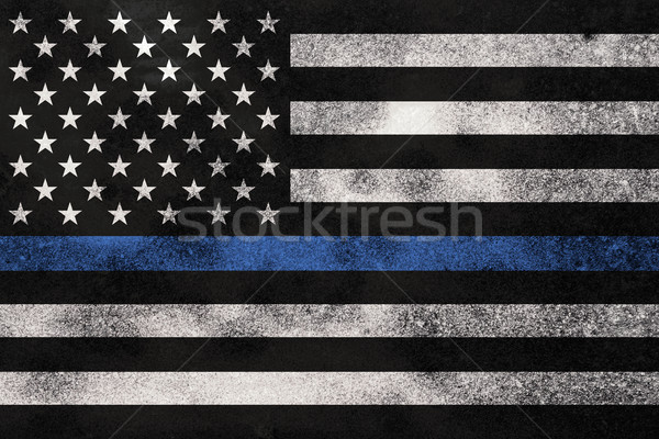 Grunge Textured Police Support Flag Background Stock photo © enterlinedesign