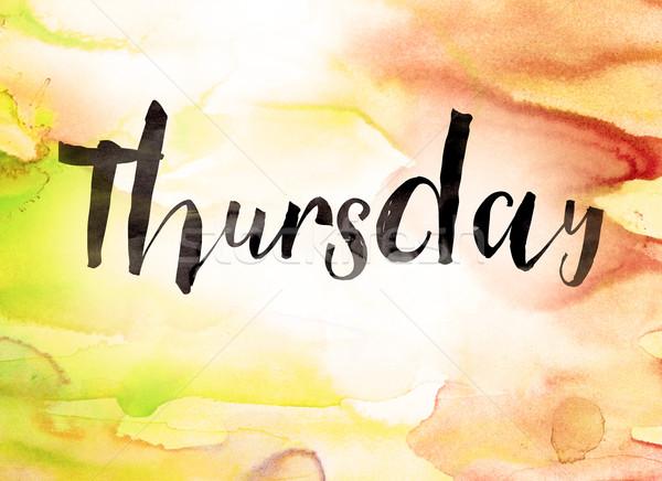 Thursday Concept Watercolor Theme Stock photo © enterlinedesign