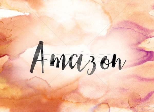 Amazon farbenreich Wasserfarbe Tinte Wort Kunst Stock foto © enterlinedesign