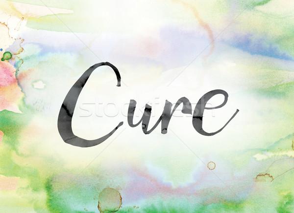 Curar colorido acuarela tinta palabra arte Foto stock © enterlinedesign