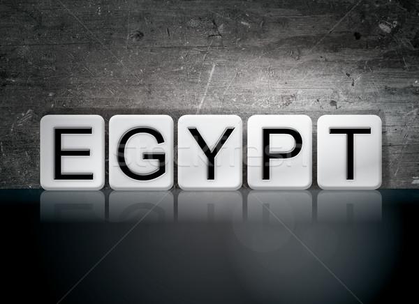 Egyiptom csempézett levelek szó írott fehér Stock fotó © enterlinedesign
