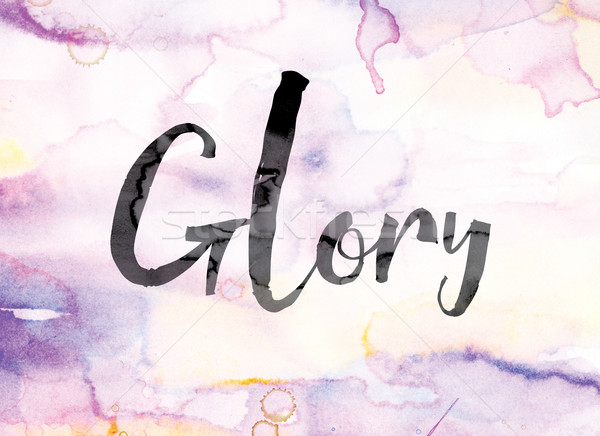 Glory Colorful Watercolor and Ink Word Art Stock photo © enterlinedesign