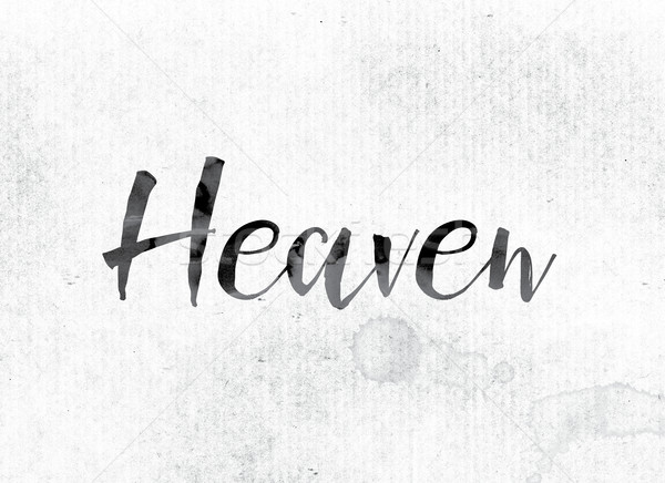 Céu pintado nosso palavra aquarela branco Foto stock © enterlinedesign