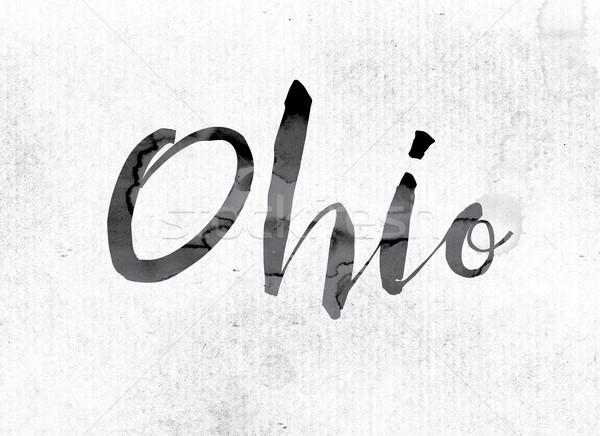 オハイオ州 描いた インク 言葉 水彩画 白 ストックフォト © enterlinedesign