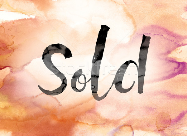 Sold Colorful Watercolor and Ink Word Art Stock photo © enterlinedesign
