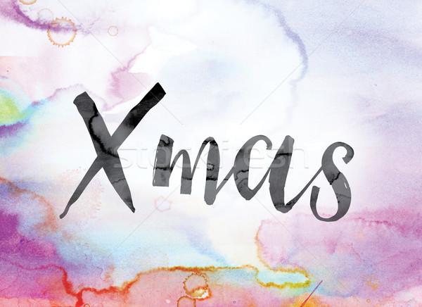 ストックフォト: クリスマス · カラフル · 水彩画 · インク · 言葉 · 芸術