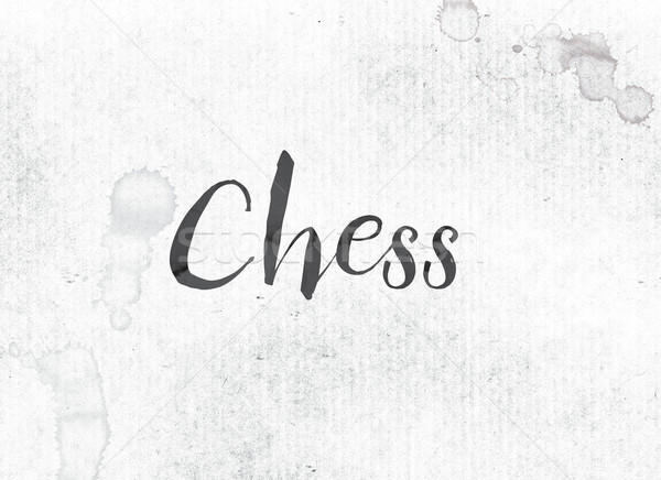 шахматам окрашенный чернила слово черный акварель Сток-фото © enterlinedesign