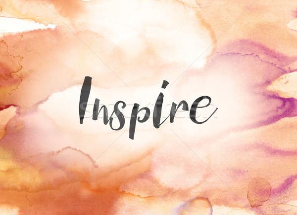 Inspirer couleur pour aquarelle encre peinture mot écrit Photo stock © enterlinedesign
