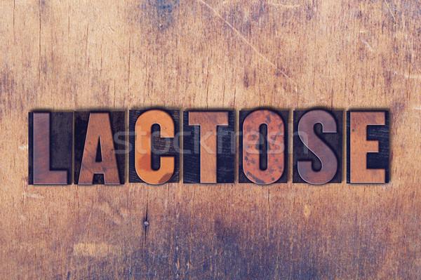 Lactose palavra madeira escrito vintage Foto stock © enterlinedesign